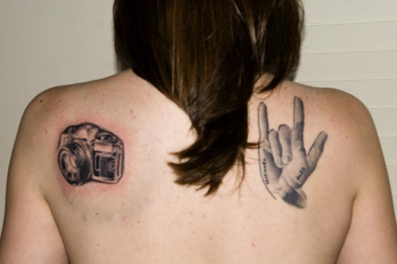 here are two of my tattoos. I have another one on my ankle.